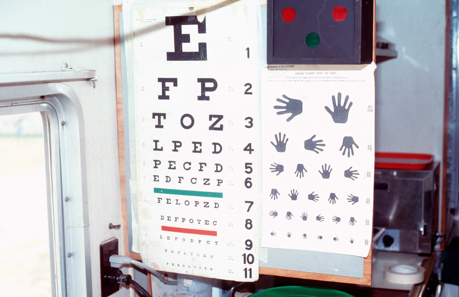 Community eye health journal test distance vision using a snellen a multi letter snellen chart left and a chart with illustrations nvjuhfo Gallery