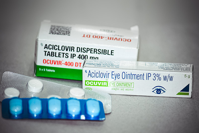 Aciclovir tablet blister packs, box and packaged tube of Aciclovir ointment