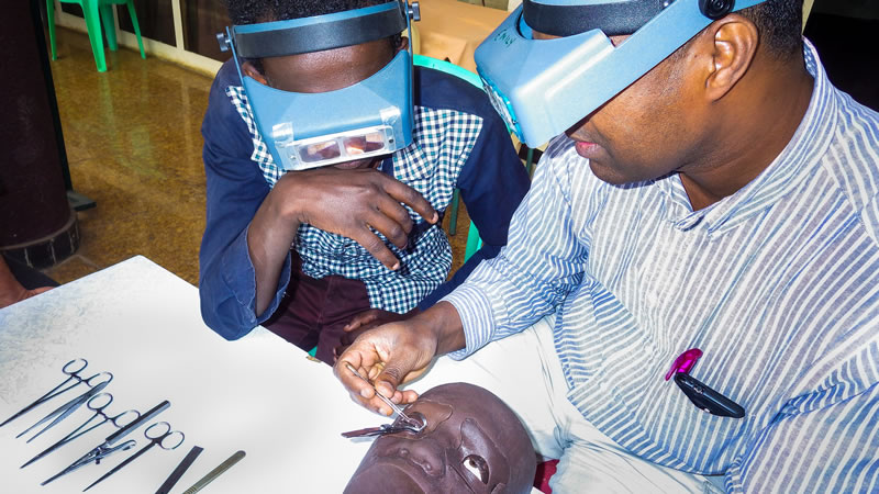 Use of a surgical mannequin (HEAD START) to train new trichiasis surgeons. Image credit: Emily W Gower