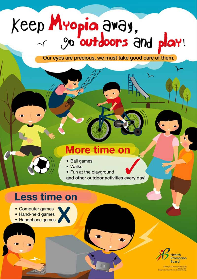 Poster showing children playing outside (cartoon drawing)